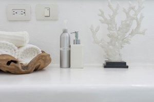 Bathroom counter with towels and decor at our wellness retreat - Casa Tara Retreat